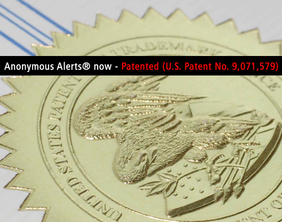 Anonymous Alerts Patent Announcement
